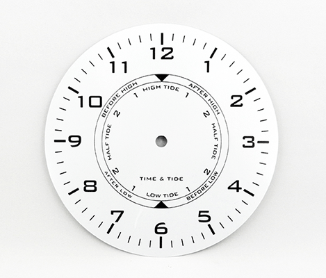 White Time and Tide Clock Dial 7-7/8"