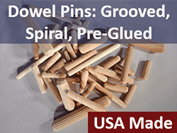 Wooden Dowel Pins fluted grooved