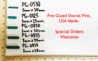 Selection of pre-glued dowel pins, metric | Bear Woods Supply
