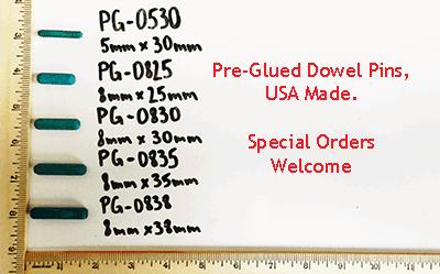 pre-glued wood dowel pins