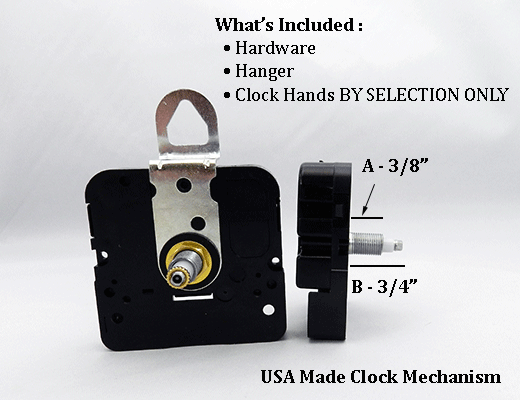USA Made Clock Movement 3/8 inch | Bear Woods Supply