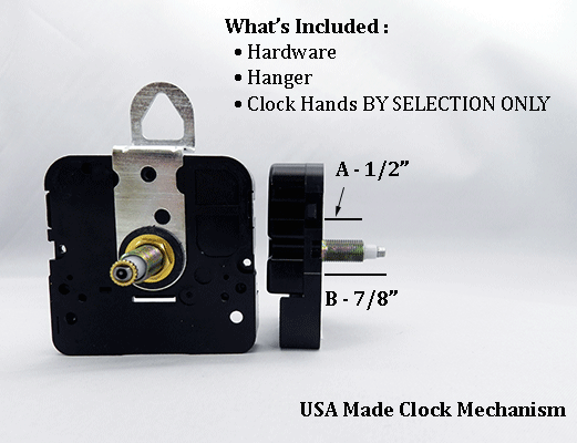 USA Made Clock Movement 1/2 inch | Bear Woods Supply