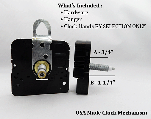 USA Made Clock Movement 3/4 inch | Bear Woods Supply