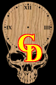 Roman numerals 12 3 6 9 on a skull clock