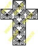 Butterfly Cross with Border Scroll Saw Pattern - By Charles Dearing