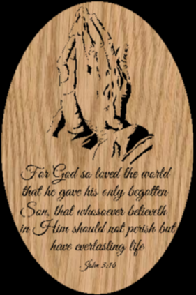 Praying Hands in an Oval with John 3:16 - Scrollsaw Pattern by Charles Dearing