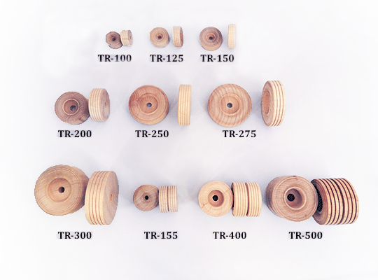 treaded wooden wheels