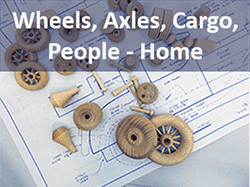 wooden wheels, axles, cargo, people