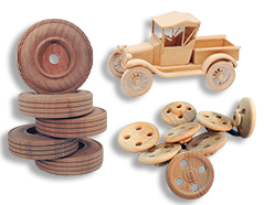 Toy Wheels, Axle Pegs, Smokestacks, Cargo etc.