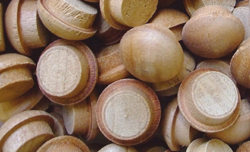 mushroom button plugs, screwhole buttons, screwhole button plugs, wood button plugs
