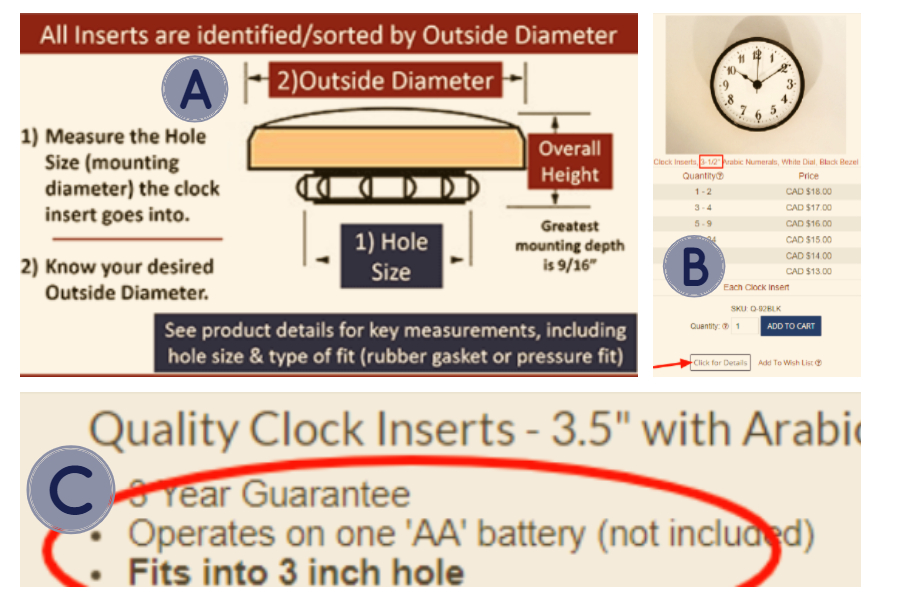 Choosing Clock Inserts by Size