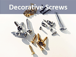 Decorative wood screws for picture hanging and hinges