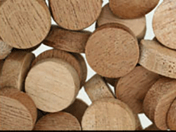 wood plugs, mahogany side grain