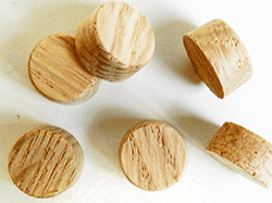 Oak side grain flat top wood plugs