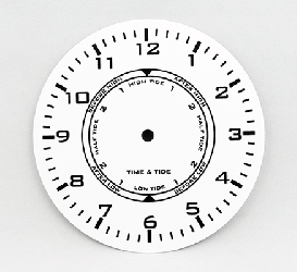 White Time and Tide Clock Dial 6"