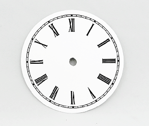 White Roman Clock Dial 4-1/2"