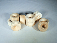 Treaded Wood Wheels 1 inch | Bear Wood Supply