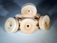 Wooden treaded wheels for models