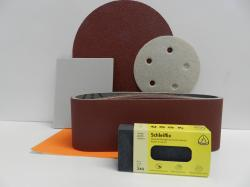 sanding paper, discs and sheets and belts