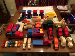 Wooden toys with wheels and axles