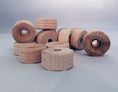 Treaded Wood Wheels 1 inch | Bear Wood Supply