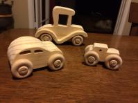 parts to make wooden cars and trucks