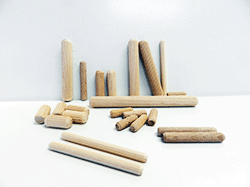 Buy wood dowel pins, metric size fluted dowels | Bear Woods Canada