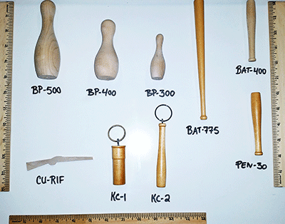 Buy mini wooden baseball bats and bowling pins | Bear Woods Supply
