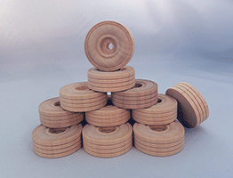 Treaded Wood Wheels 1-3/4 inch | Bear Wood Supply